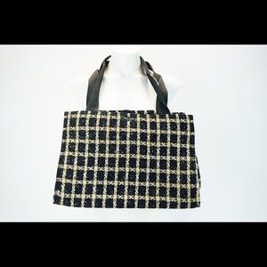 KATE SPADE NEW YORK Black & Cream Tweed Tote Bag